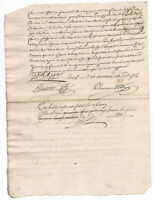1753 Louis XV royalnotary manuscript document authentic READY TO FRAME signed