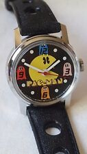 Vintage wind up Pacman video game character watch Bradley '80 Bally Midway