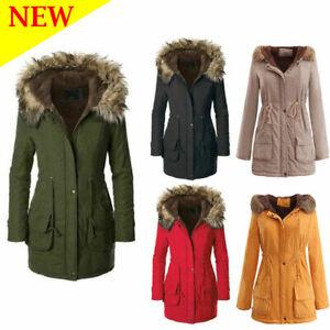 Womens Winter Jacket Fleece Lined Fur Hooded Quilted Parka Warm Winter Coat UK