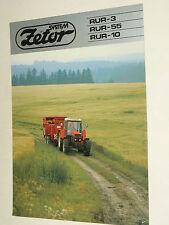 Prospectus  Tracteur ZETOR  RUR 3 55 10  tractor traktor prospekt brochure