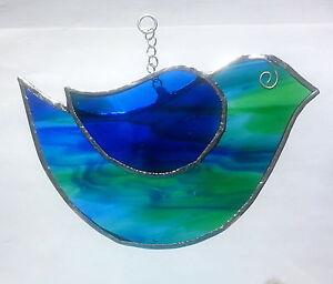 Cute garden blue green bird stained glass handmade hanging suncatcher wildlife