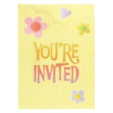 """Girl Birthday Party Supplies """"Cute Birthday"""" Butterfly Flower Party Invitations"""
