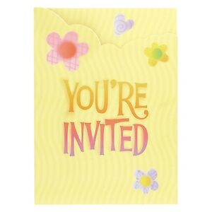 """""""Cute Birthday"""" Party Supplies - Butterfly Flower Hearts Party Invitations 8pk"""