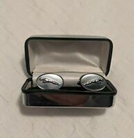 Silver-Tone Jaguar Cufflinks
