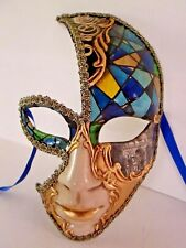 MAR7 MOON MASK, HANDMADE IN VENICE, PAPIER MACHE, HANDPAINTED BLUE/GOLD