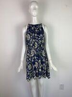 NWT Lucky Brand Navy Blue Floral Knit Sleeveless Self Tie Dress Women's Size L