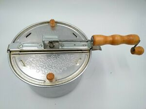 The Genuine Whirley Pop Popcorn Pan Original Silver Aluminum Nylon Gear 6 qt