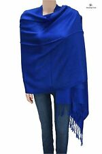 Elegant Jacquard Paisley Pashmina Shawl Scarf Stole Royal Blue for Women