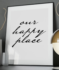 Happy Place Inspirational Quote Poster Art Print A3 A4 A5 A6 Decor Gift Wall