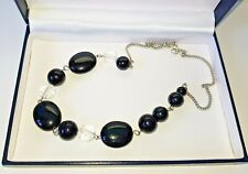 Retro Style Black Beaded Necklace Round Silver Tone Chain Costume JewelleryPiece