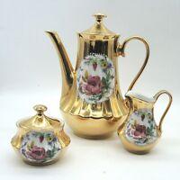 Retsch & Co. Kaffeekanne Set Kanne Zucker Milch Bauerngold mit Rose