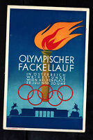 1936 Germany Austria Berlin Olympics Commemorative Postcard Cover Flame Torch