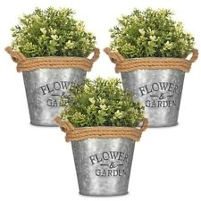 3 x Vintage Zinc Plant Garden Flower Pot Holder Basket Wall Outdoor Indoor Decor