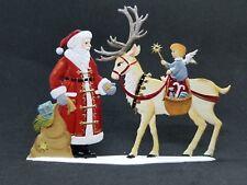 """ARTIST WILHELM SCHWEIZER GERMAN ZINNFIGUREN Feeding Time with Santa (5.5""""x 4"""")"""