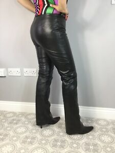 VTG Black Real Leather Straight Bootcut Leg Side Zip Trousers W30 L30 UK 10 Goth