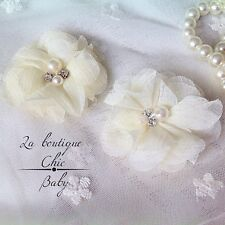 Ivory Pearl Crystal Girl Christening Baptism Wedding Bridesmaid Baby Hair Clips