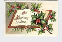 PPC POSTCARD CHRISTMAS ALL HAPPINESS BE THINE HOLLY MISTLETOE BOOK EMBOSSED