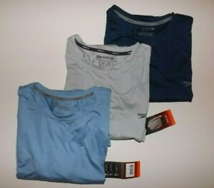 Speedo Mens Shirt Block the Burn Swim Tee Gray Navy Light Blue Size XXL XL