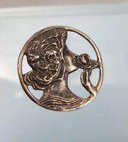 Vintage Art Nouveau Style Lady smelling Flower Silver 925 Brooch pendant
