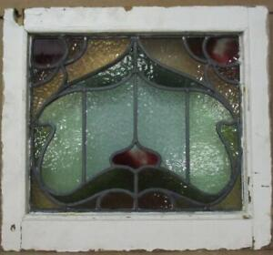 """VICTORIAN ENGLISH LEADED STAINED GLASS WINDOW Pretty Floral 18.25"""" x 16.5"""""""