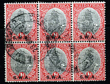 SOUTH WEST AFRICA 1930-31 1d. Black/Carmine Perf 15x14 Bilingual Block SG 69 VFU