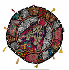 "22"" Indian Handmade Patchwork Round Pouf Cover Home Decor Handmade Ottoman Pouf"