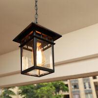Retro Black/Brass Metal Lantern Glass Outdoor Chain Hanging Ceiling Pendant Lamp