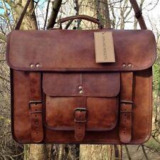 """17"""" Mens Real Vintage Leather Messenger Laptop Briefcase Satchel Women Bag Brown"""