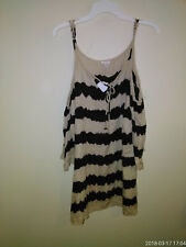 NWT-En Creme Super Sexy Striped Tan/Black Off Shoulder Cut Out Blouse-S~MUSTSEE