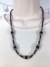 Black Bead and Silver Barrel Necklace