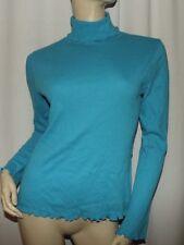 NEW J. JILL Blue Turtle Neck Scallop Edge Shirt NWT Size XS