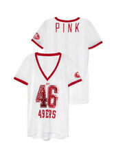 NWT! Victoria's Secret Pink San Francisco 49ers Mesh Bling Sequin Jersey Small