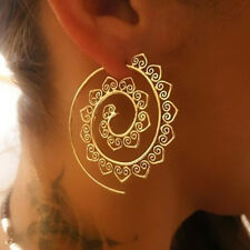 Gold Women Boho Spiral Brass Gypsy Earrings Tribal Ethnic Hoop Jewellery NEW