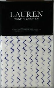 Ralph Lauren Nora Zig Zag 2 KING Pillowcases Blue White Modern French Cottage