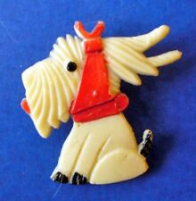 BUY1&GET1@50%~PIN Scottie Dog CARVED CELLULOID White RED Kerchief Vtg 40s JAPAN