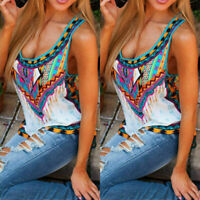 Women's Boho Floral Summer Vest Sleeveless Beach Shirt Blouse Tank Tops T-Shirt