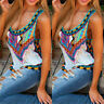 Women's Boho Floral Summer Vest Sleeveless Beach Shirt Blouse Tank Tops T-Shirt