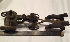 """Antique Cast Iron Toy Fire Engine Water Tank Carriage 2 Horse Driver 9"""""""