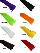 "HALLOWEEN Colors 12"" PLAIN Chenille 6MM STEMS Choose Color & Package Amount"