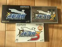 Lot Gyakuten Saiban Phoenix Wright 1 2 3 GameBoy Advance GBA Japan CIB NTSC-J