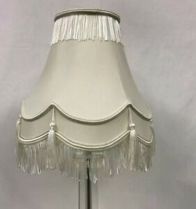 VICTORIAN TRADITIONAL FULLY LINED CREAM & SILVER TABLE LAMP SHADE NEW