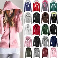Womens Hoodie Sweatshirt Jumper Pullover Sweater Zip Coat Outwear Bomber Jacket