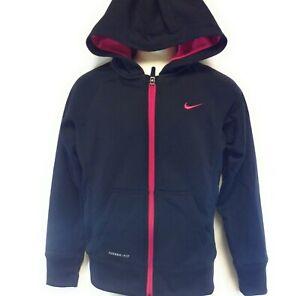 Girls Youth Kids Nike 546100 011 Black Pink Therma Fit Full Zip Up Hoodie Jacket
