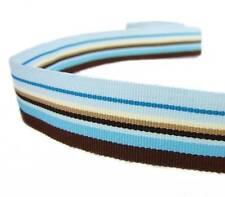 "5 Yds Blue Brown Westbrook Striped Grosgrain Ribbon 7/8""W"
