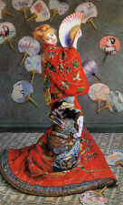 Art Oil painting Claude Monet - Camille In Costume beautiful young girl & fan