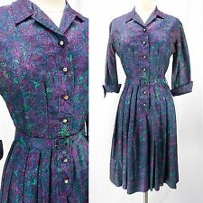 Vintage 50s Purple/Green Rose Floral Day Dress Rhinestone Button Belted Pleats S