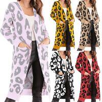Women Long Sleeve knitted Sweater Coat Jacket Leopard Print Cardigan Outwear Top
