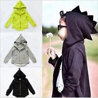 USStock Child Kids Boys Girl Dinosaur Sweatshirt Hoodies Jacket Coat Outerwear