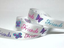16mm Friends Butterfly Printed White Satin Ribbon--5yds