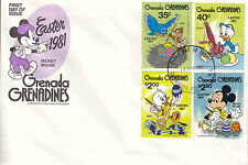Grenada Grenadines  Disney FDC Easter 1981(4) & Souvenir Sheet Cover- DI 5355/56